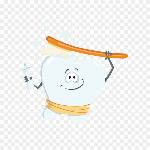 Tooth cartoon mascot brushing teeth on transparent background PNG.png