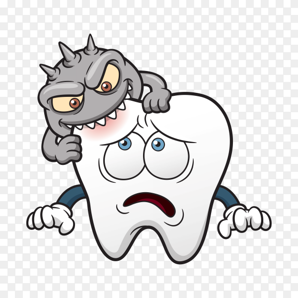 Tooth decay, Tooth decay Dentistry Human tooth Cartoon on transparent background PNG