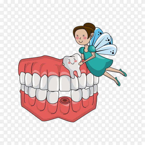 Tooth fairy and dental care illustration on transparent background PNG