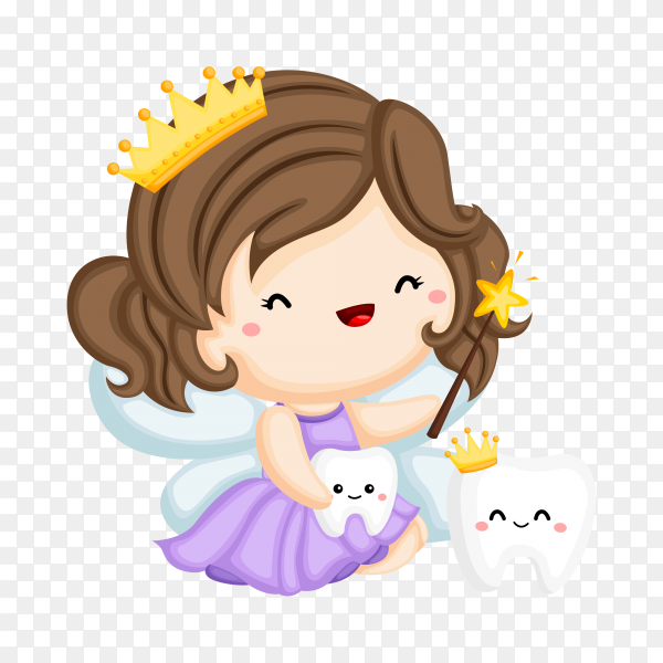 Tooth fairy and magic teeth on transparent background PNG