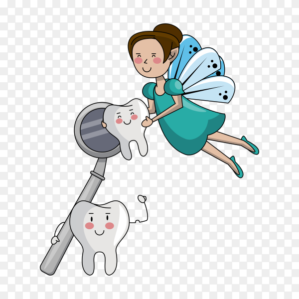 Tooth fairy cartoon dental care on transparent background PNG