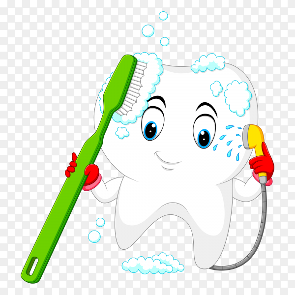 Tooth is washing herself with a toothbrush on transparent background PNG.png