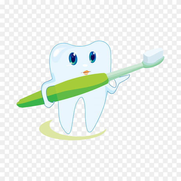 Tooth with a toothbrush, smiling on transparent background PNG.png