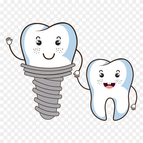 Tooth with dental care on transparent background PNG