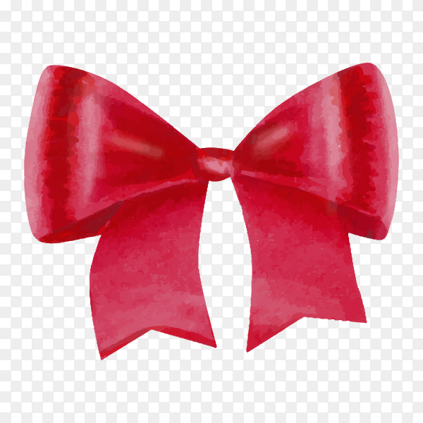 Watercolor big with colorful red satin bow on transparent background PNG.png