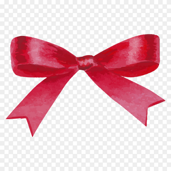 Watercolor red bow illustration on transparent background PNG.png