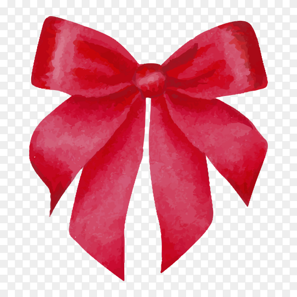 Watercolor red satin bow isolated on transparent background PNG.png