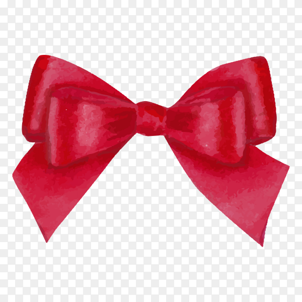 Watercolor red satin bow isolated premium vector PNG.png
