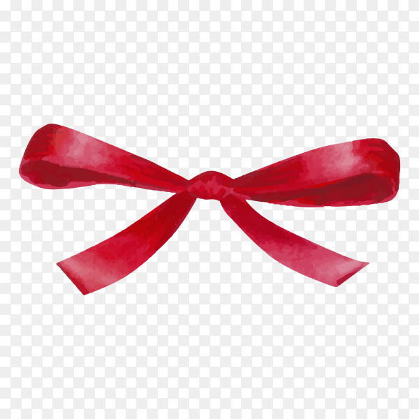 Watercolor red satin bow on transparent background PNG.png
