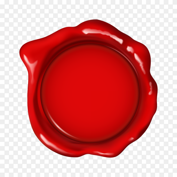 Wax seal in red color on transparent background PNG