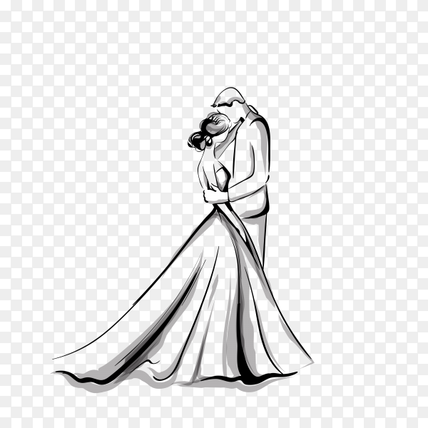 Wedding couples silhouettes on transparent background PNG