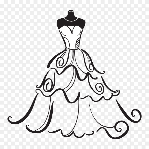 Wedding dress isolated on transparent background PNG