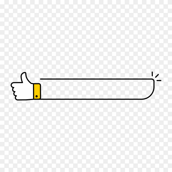 White banner with thumb up on transparent background PNG