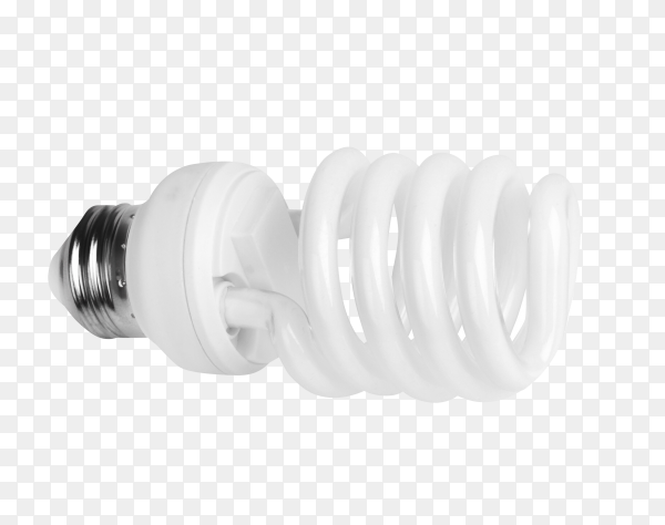White energy saving bulb on transparent background PNG