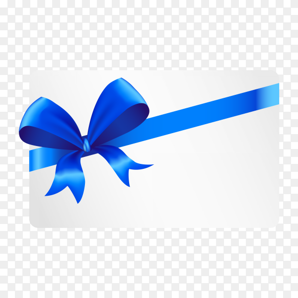 White paper card with gift blue satin bow on transparent background PNG.png