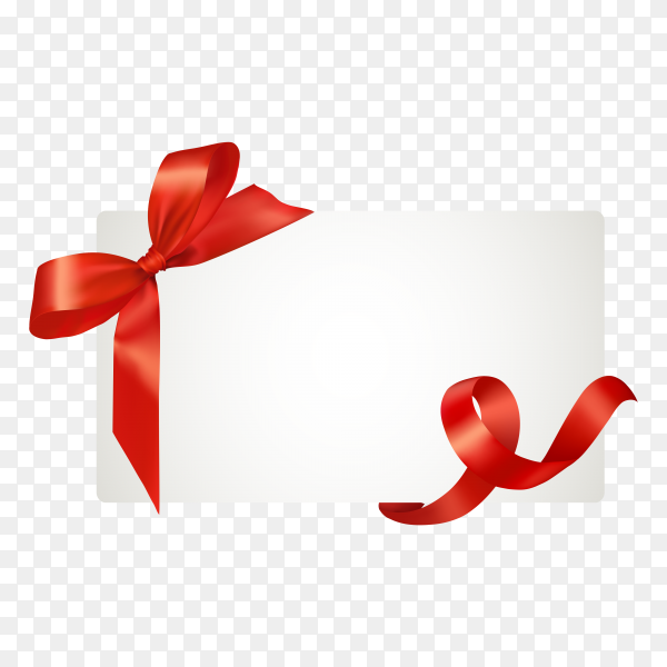 White paper card with gift red satin bow on transparent PNG.png