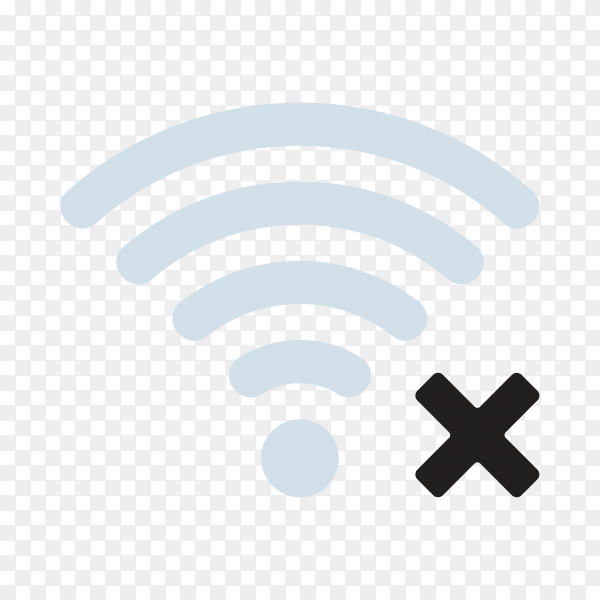 Wireless Gray No Internet Connection Signal Icon on transparent background PNG