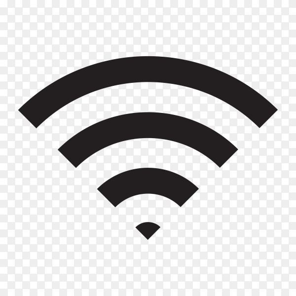 Wireless and wifi icon or sign for remote internet access on transparent background PNG