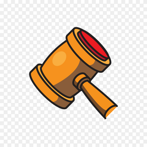 Wooden hammer is designed for mallet icon on transparent background PNG