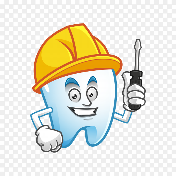 Worker tooth mascot wearing hard hat and holding screwdriver, tooth character, tooth cartoon on transparent background PNG.png