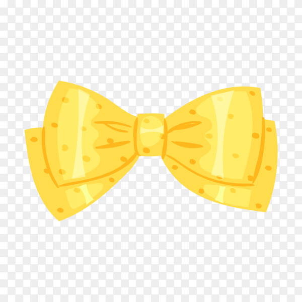 Yellow Bow or ribbon for decorating gifts on transparent background PNG.png