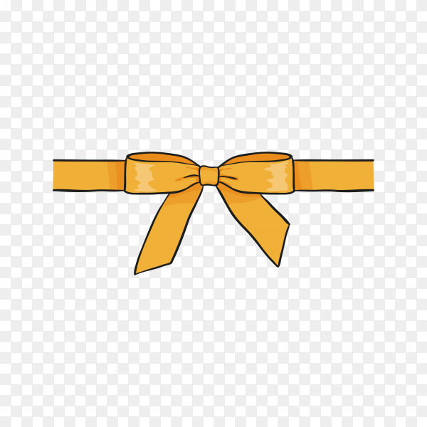Yellow Ribbon bow on transparent background PNG.png