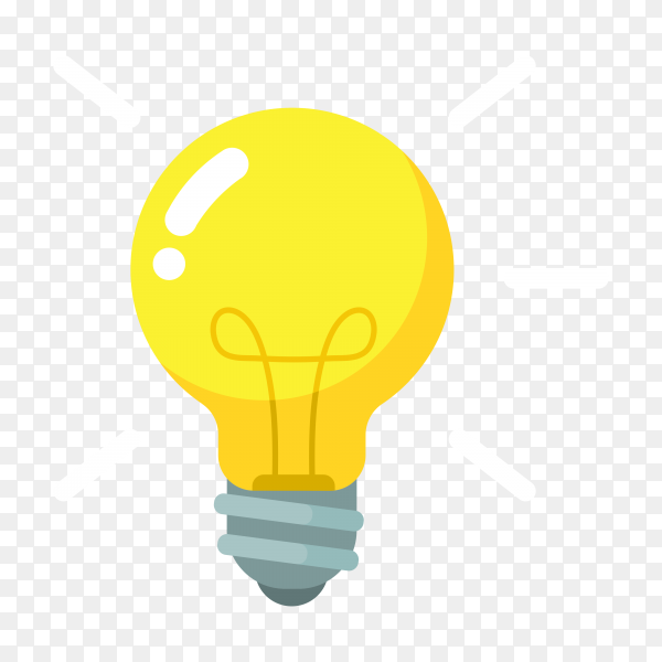 Yellow light bulb isolated on transparent background PNG