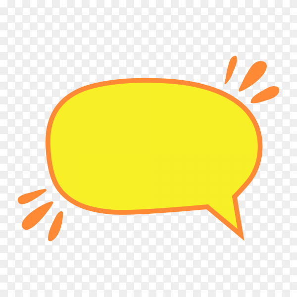 Yellow speech bubble in flat icon on transparent background PNG