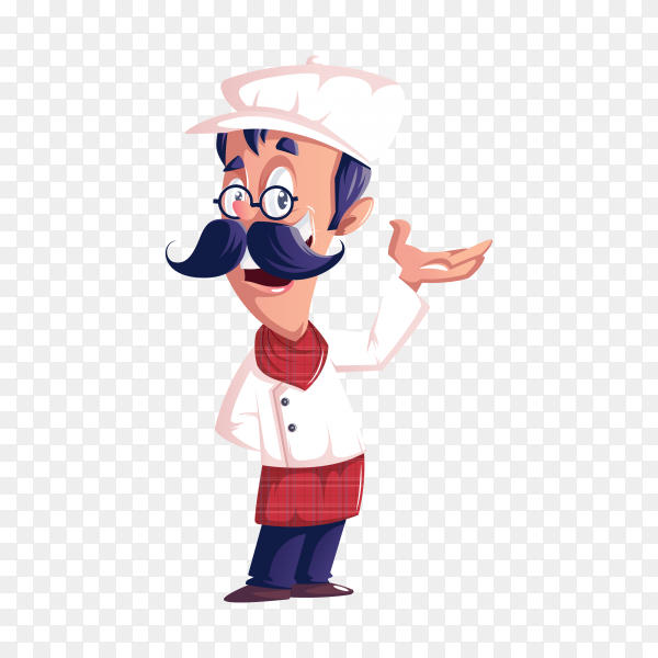 Hand drawn happy chef on transparent background PNG