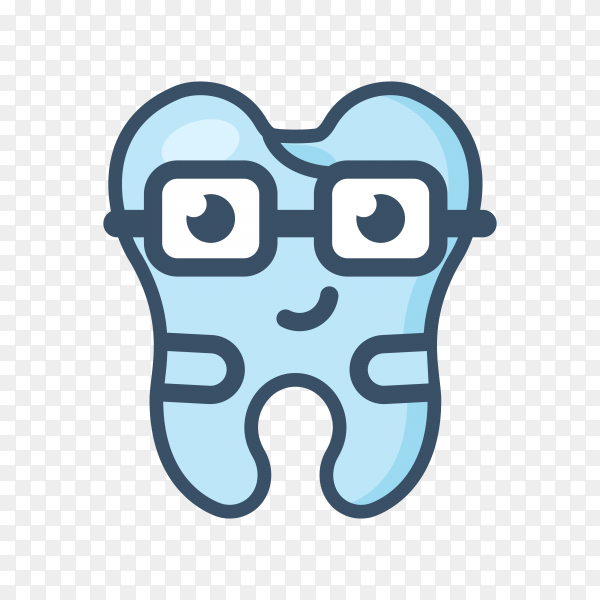 tooth character with glasses vector PNG.png
