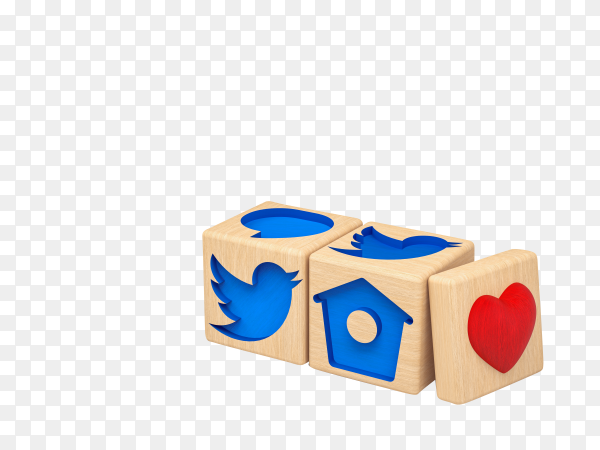 3D illustration, wooden cubes with carved twitter icons on transparent background PNG
