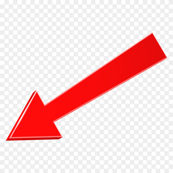 3D red arrow isolated on transparent background PNG
