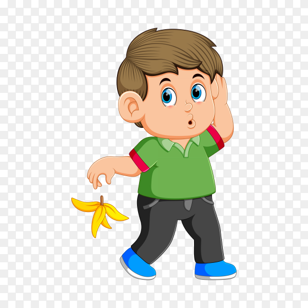 A boy Toss The Banana Peel in road on transparent background PNG