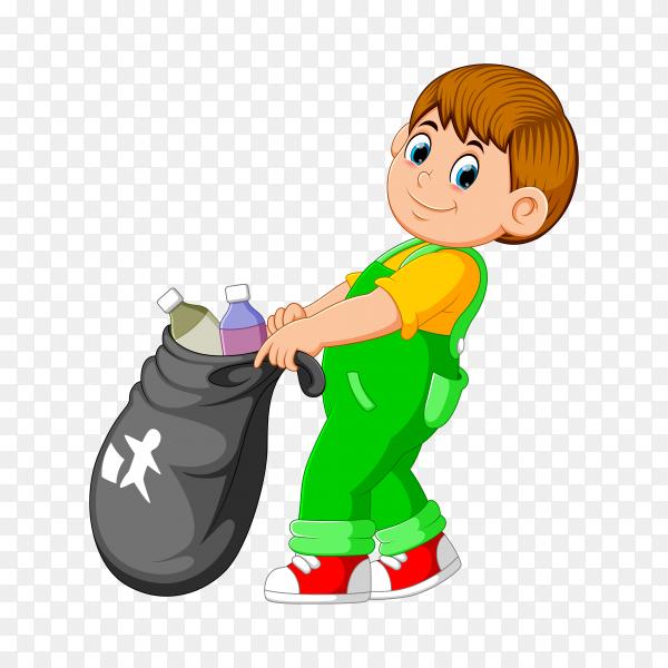 A boy carry trash bag on transparent background PNG