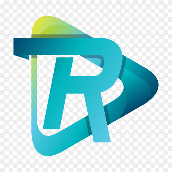 Abstract letter R logo template on transparent background PNG