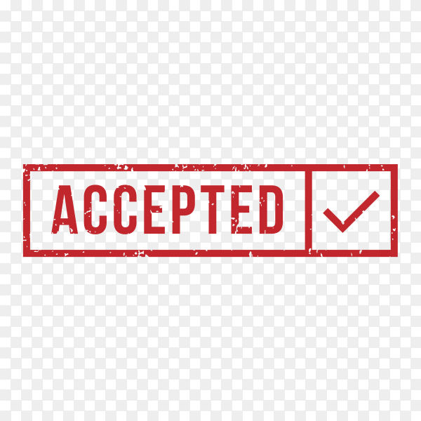 Accepted Rubber Stamp on transparent background PNG