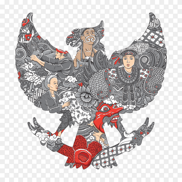 Amazing Indonesia culture in garuda silhouette on transparent background PNG