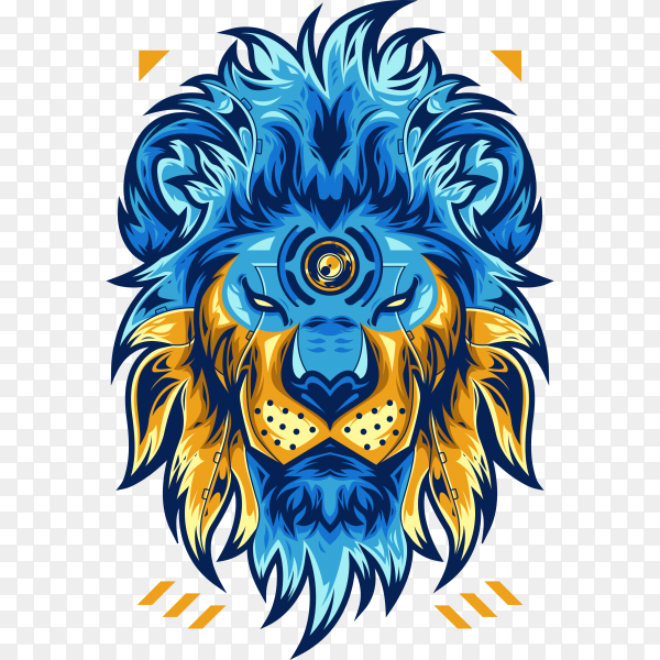 Amazing lion head on transparent background PNG