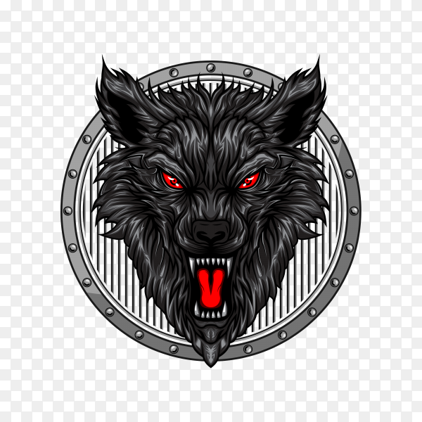 Angry wolf head on transparent background PNG