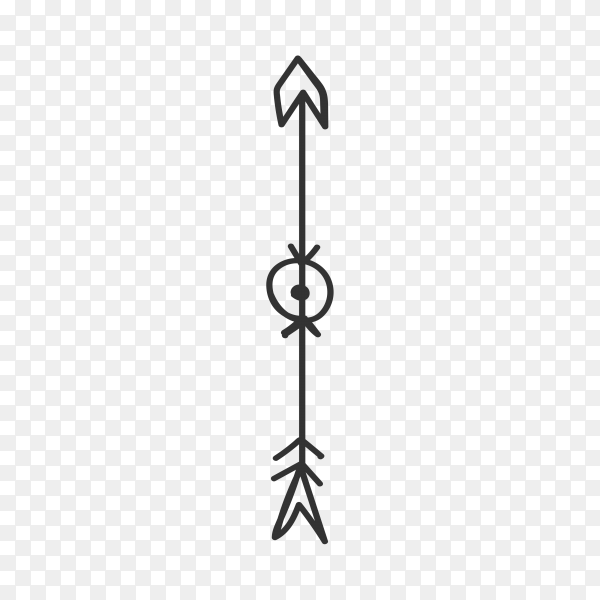 Arrow doodle illustration on transparent PNG