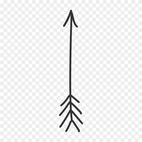 Arrow doodle isolated on transparent background PNG