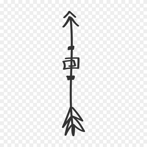 Arrow doodle isolated premium vector PNG