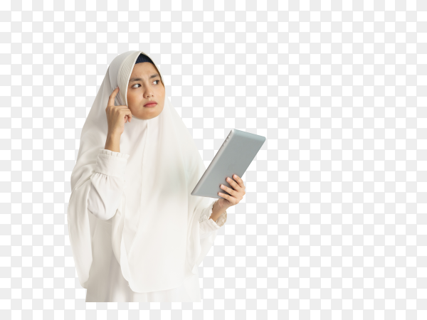 Asian Muslim woman with white dress on transparent background PNG