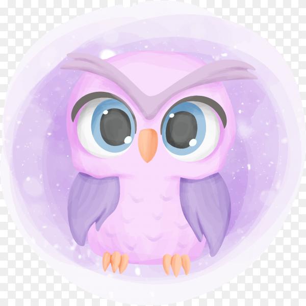 Baby owl cute portrait cartoon nursery on transparent background PNG