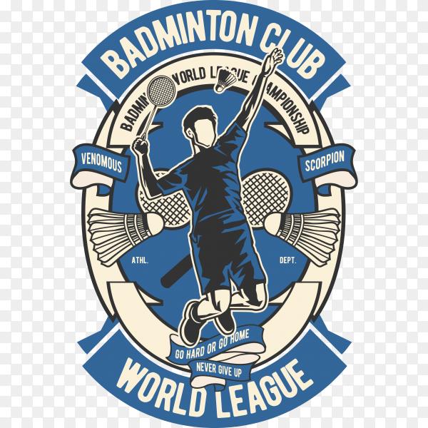 Badminton club logo on transparent background PNG