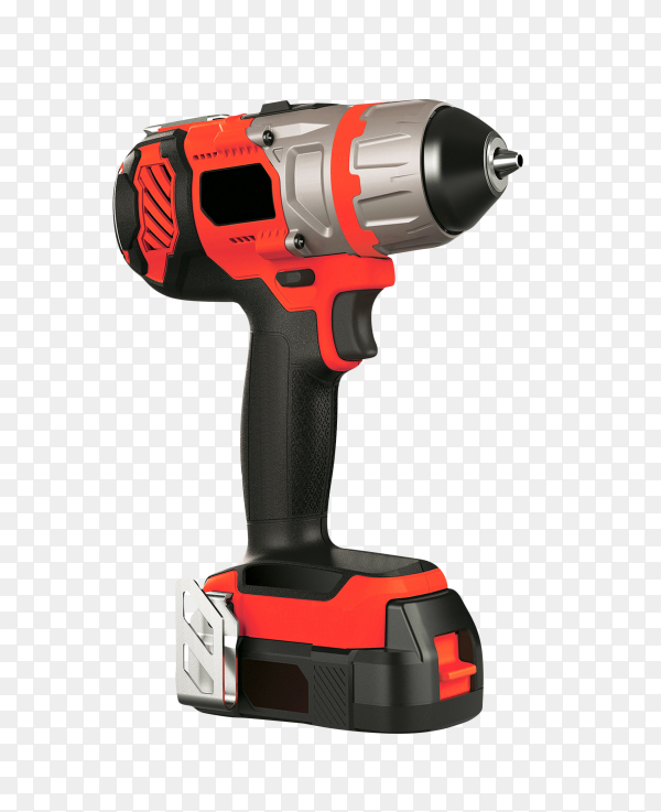 Battery powered screwdriver on transparent background PNG