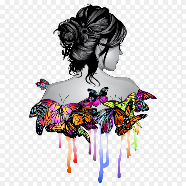 Beautiful Woman with Butterflies on transparent background PNG