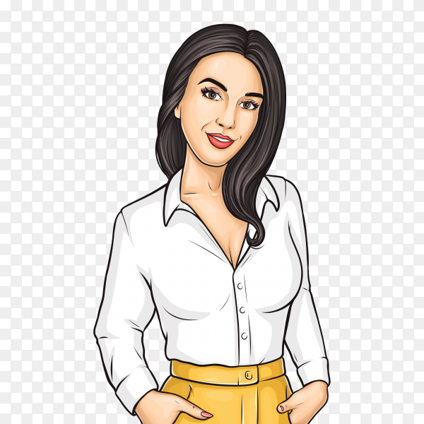 Beautiful woman illustration on transparent background PNG