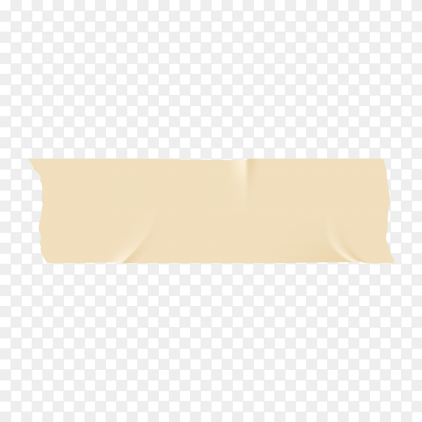 Beige adhesive or masking tape piece with torn edge realistic style isolated on transparent background PNG