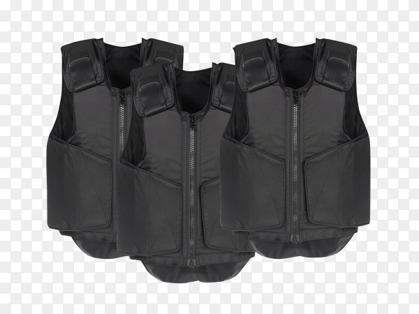 Black Bulletproof vest isolated on transparent background PNG